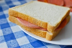 White bread bologna sandwich